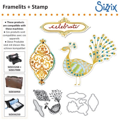 Sizzix framelits die set 3pk with stamps peacock