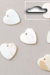 Buttons ass. 1 pk. a 6 st. natural heart river shell dang