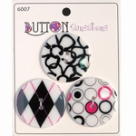 Button Sensations 3x Black & White 3,4 cm
