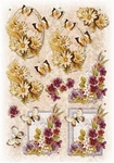 Glitter Decoupage bloem-vlinder nr.2