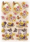 Glitter Decoupage bloem-vlinder nr.1
