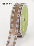 BLUE/BROWN Solid Band Edge / Square Print 22 mm