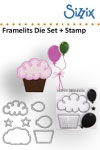 Sizzix Framelits die set 7pk with stamp balloons & cupcakes