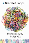 Bracelet loops x300 + S-clips x12 assorted