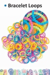 Bracelet loops bead style x150 + S-clips x6 assorted opaque