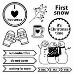 Set Of Clear Stamps 10,5x10,5 cm Happy Holiday First Snow