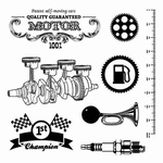 Set Of Clear Stamps 10,5x10,5 cm Auto Vintage Motor