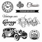 Set Of Clear Stamps 10,5x10,5 cm Auto Vintage Garage