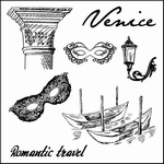 Set Of Clear Stamps 10,5x10,5 cm Discover Italy Venice