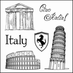 Set Of Clear Stamps 10,5x10,5 cm Discover Italy Italy