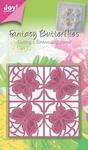 6002/0243 Cutting & Embossingstencil - vierkant, vlinder