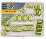 Silver foil beads kit 27 st. assorti lime